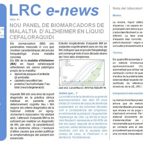 Nou panel de biomarcadors de malaltia d'Alzheimer